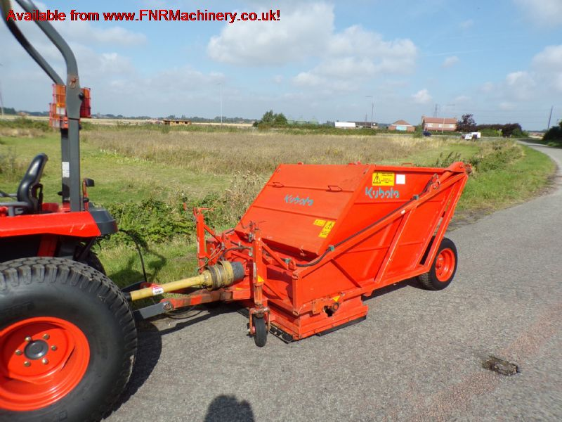 SOLD !!! KUBOTA TSC120 TRACTOR TOW SWEEPER/COLLECT